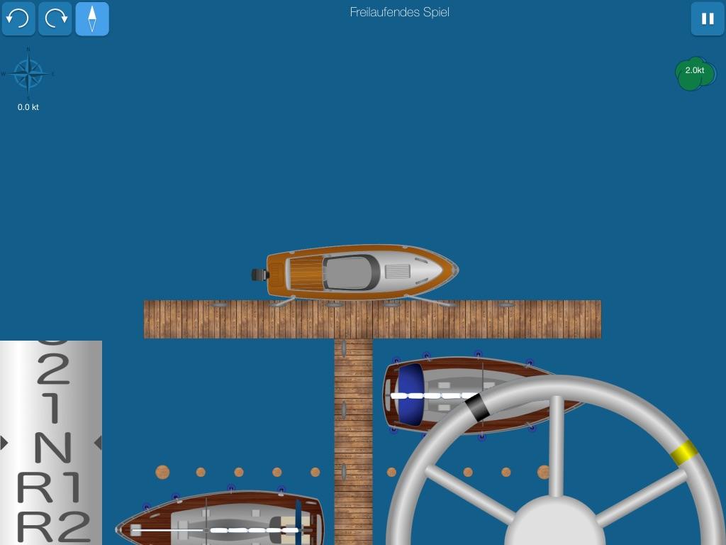 Screenshot zeigt Motorboot mit Leinen festgemacht
