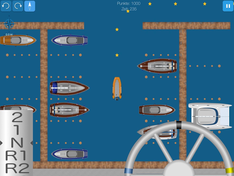 Screenshot zeigt Schlauchboot bei Hafenmanövern