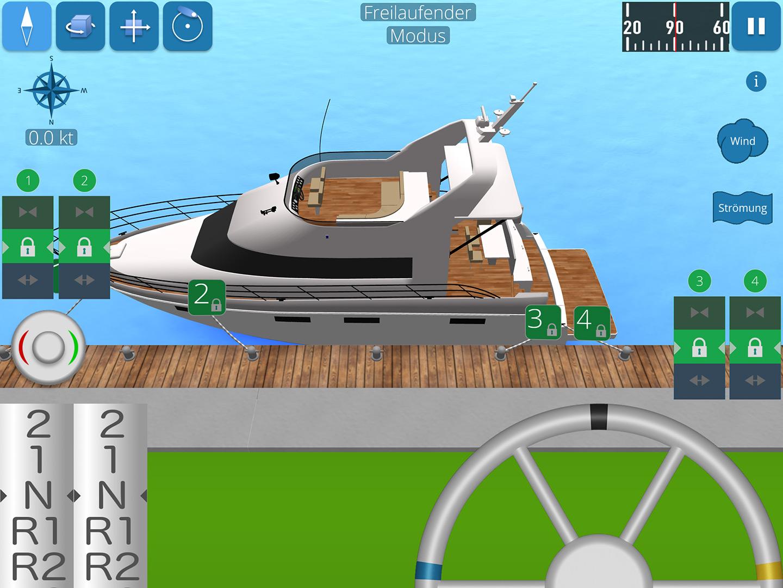 Screenshot zeigt Motoryacht mit Leinen am Pier festgemacht