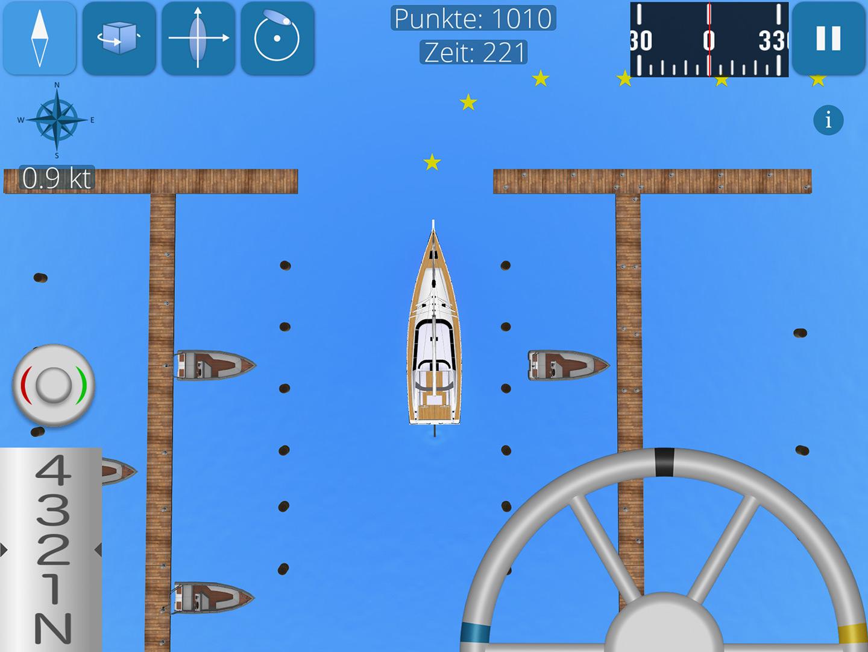 Screenshot zeigt Segelyacht bei Hafenmanövern