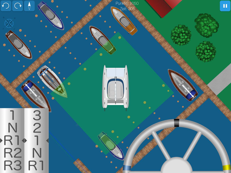 Screenshot zeigt Katamaran beim Wenden